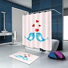 TSJT Duschvorhang Badematte Set Wasserdicht Mildewproof Romantische Polyester Stoff Bad Zubehör Bad Dekoration mit 12 Kunststoff Haken Multi Size , @4 , 180 x 240 cm