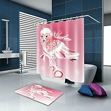 TSJT Duschvorhang, wasserdichtes Mildewproof Antibakterielle Badvorhänge, mit Haken und Badematte, Polyester 3D Digitaldruck Cartoon Pattern, Mult Größen , @1 , 180 x 200 cm