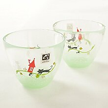 Tsukiyono Teeglas mit Katzenmotiv, aus Japan