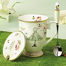 TSVB Keramik-Becher mit Deckel Löffel DM creative Knochenporzellans bedeckt Cup europäisch anmutenden Garten Kaffee-Haferl Geschenk Box Tee Office Cup,3