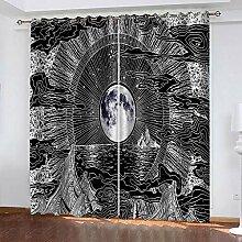 TTBBBB 3D Vorhang Wohnzimmer Vollmond abstrakte