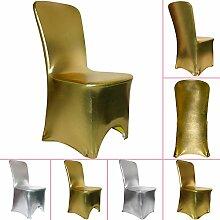 TtS 100pcs Gold Stuhl Abdeckung Spandex Hochzeit Bankett Dekoration