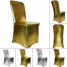 TtS 100pcs Gold Stuhl Abdeckung Spandex Hochzeit