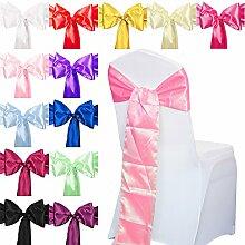 TtS 10er 18cm x 275cm Satin Stuhl Schärpe Hochzeit Jahrestag Party Dekoration(Pink)