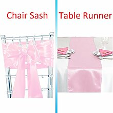 Tts 10pcs Satin Schleifen Stuhl Schärpe + 1pcs Satin Tischläufer Band Dekorativ für Hochzeit Jahrestag Partys (Rosa)