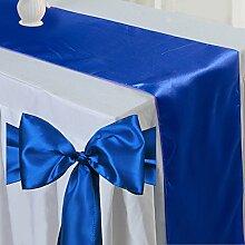 Tts 10pcs Satin Tischläufer Band + 100pcs Satin Schleifen Stuhl Schärpe Dekorativ für Hochzeit Jahrestag Partys Königsblau