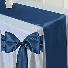 Tts 10pcs Satin Tischläufer Band + 100pcs Satin Schleifen Stuhl Schärpe Dekorativ für Hochzeit Jahrestag Partys Marineblau