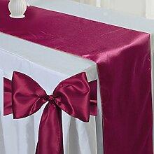 Tts 10pcs Satin Tischläufer Band + 100pcs Satin Schleifen Stuhl Schärpe Dekorativ für Hochzeit Jahrestag Partys Weinro