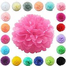 TtS 10Stk (Hot Pink) Seidenpapier PomPoms Papier Blumen Ball Hochzeit Party Dekoration-38cm