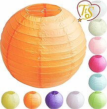TtS 10Stk (Orange) Papier Laterne Lampion Rund Lampenschirm Hochtzeit Party Dekoration-40cm