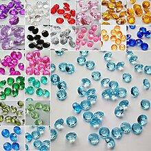 TtS 200Stk 10mm Diamanten Acryl Kristalle Streuteile Tisch Hochzeit -Hellblau