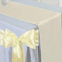 Tts 5pcs Satin Tischläufer Band + 50pcs Satin Schleifen Stuhl Schärpe Dekorativ für Hochzeit Jahrestag Partys Elfenbein