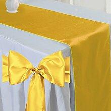 Tts 5pcs Satin Tischläufer Band + 50pcs Satin Schleifen Stuhl Schärpe Dekorativ für Hochzeit Jahrestag Partys Gold