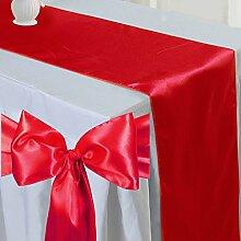Tts 5pcs Satin Tischläufer Band + 50pcs Satin Schleifen Stuhl Schärpe Dekorativ für Hochzeit Jahrestag Partys Ro