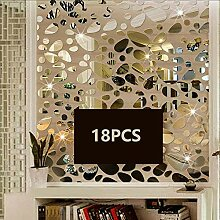 TTSAM 72 silberne Spiegel-Aufkleber aus Acryl,