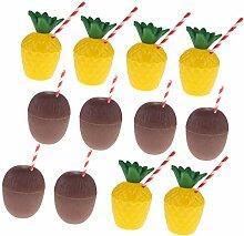 Tubayia 12 Stück Plastik Ananas-Cups