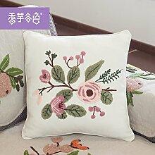 Tuch bestickte Kissen Büro sofa Rückenlehne Taille taille Kissen Kissen Stickerei, großes Bett, 50 x 50 cm, kleine weiße Blüten
