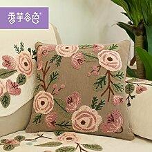 Tuch bestickte Kissen Büro sofa Rückenlehne Taille taille Kissen Kissen Stickerei, großes Bett, 50 x 50 cm, flaches Johannisbeere Blume