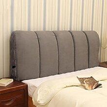 Tuch Bett Kissen weiche Tasche Bettdecke Rückenlehne Kissen Große Rückenlehne Kissen Abnehmbare und waschbar ( Farbe : Grau , größe : 195*60cm )