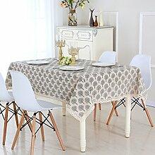 Tuch Einfaches Leinen Tuch Tischdecke,Rechteckiges Kaffeetuch,Pastorale Runde Tischdecke-B 90x90cm(35x35inch)