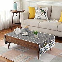 Tuch Kleine Frische Tapete,Tuch Baumwolle Leinen Rechteckig Gitter Pastoral Tee Tisch Mat,Round Table Quadratischen Tisch Stoffservietten-B 50x180cm(20x71inch)