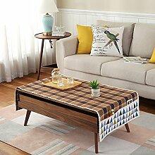Tuch Kleine Frische Tapete,Tuch Baumwolle Leinen Rechteckig Gitter Pastoral Tee Tisch Mat,Round Table Quadratischen Tisch Stoffservietten-K 60x180cm(24x71inch)