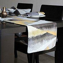 Tuch Tischläufer,Graue Geometrische Jacquard-pop-stil Couchtisch Flagge,Tv-läufer-A 32x180cm(13x71inch)