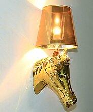 Tuch Wandleuchte Pferd Kopf Licht Kreative Kanal Wand Lampe Europäischen Retro Lampe Schlafzimmer Nachttisch Lampe Cafe Wanddekoration Lampe ( Color : Gold )
