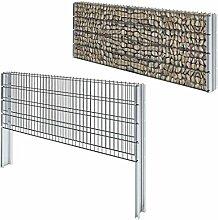 Tuduo 2D Gabionenzaun Set 6m grau Sichtschutzrolle