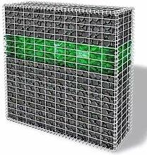 Tuduo Garten Gabionen-Set mit Korb Glassteine LED