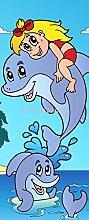 Tür–Kinder Delfine, 83x204cm