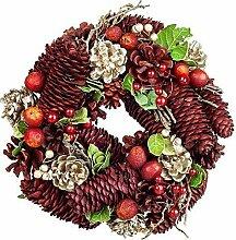 Tür-, Advents- Weihnachtskranz aus Tannenzapfen in Rot, Gold & Grün Ø 23cm