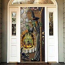 Tür-Aufkleber, Halloween-Hexe, Tür-Aufkleber,