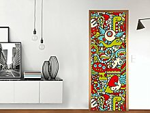 Tür-Dekoraufkleber - schmale Tür (Größe: 73,5 x 198,5 cm) | Sticker Aufkleber Tapete Folie Türschmuck Wohnen und Dekorieren | Design Motiv Monster Doodle