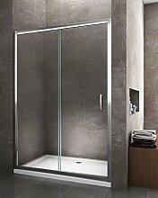 Tür Dusche Schiebetür für Bauform in Nische Min 125max 130Profil Chrom Kristall gehärtetem Glas 6mm EasyClean Antikalk