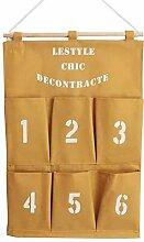 Tür Wand hängende Aufbewahrungsbeutel - Meedot Gadget Beutel Organisator Beutel Faltbare Wand-Taschen Hängende Wand Regal Organisator platzsparendes Geschenk 6 Taschen Yellow