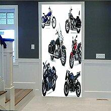 Türaufkleber 3D Türansicht Motorrad Aufkleber