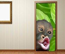 Türaufkleber Affe lustig Kopf Afrika Baum