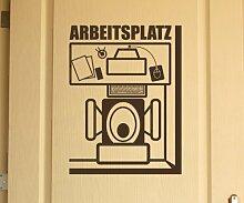 Türaufkleber Arbeitsplatz Toilette Bad Dekoration Sticker Tür Aufkleber 3D087, Farbe:Dunkelgrau Matt;Hohe:60cm