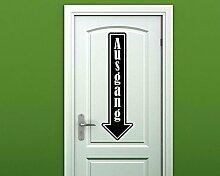 Türaufkleber Ausgang Tür Schild Dekoration Sticker Tattoo Aufkleber 3D339, Farbe:Gold glanz;Hohe:70cm