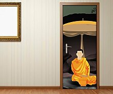 Türaufkleber Buddha Feng Shui Yoga Statue Cartoon