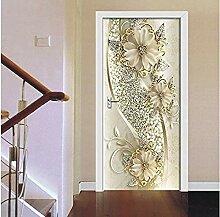 Türaufkleber Goldene Blumen Wandbild Kunst Tapete