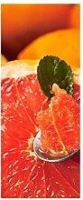 Türaufkleber Grapefruit Orange Obst Löffel