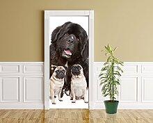 Türaufkleber - Großer und kleine Hunde - 90 x