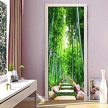 Türaufkleber Grünes Bambus-Waldblatt