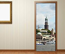 Türaufkleber Hamburg Hafen Stadt Skyline Tür Bild Türposter Türfolie Druck Aufkleber 15A2340, Türgrösse:90cmx200cm