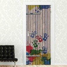 Türaufkleber Holztür mit Handabdrücken Happy