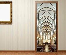 Türaufkleber Kirche Durchgang Tür Stühle Decke