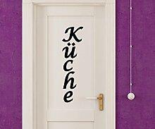 Türaufkleber Küche Tür Anschrift Dekoration Sticker Tattoo Aufkleber 3D470, Farbe:Königsblau Matt;Hohe:40cm