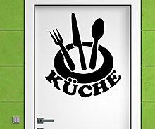 Türaufkleber Küche Tür Teller Gabel Löffel Sticker Tattoo Aufkleber 3D474, Farbe:Schwarz Matt;Hohe:50cm